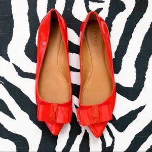 Jcrew coral bow flats